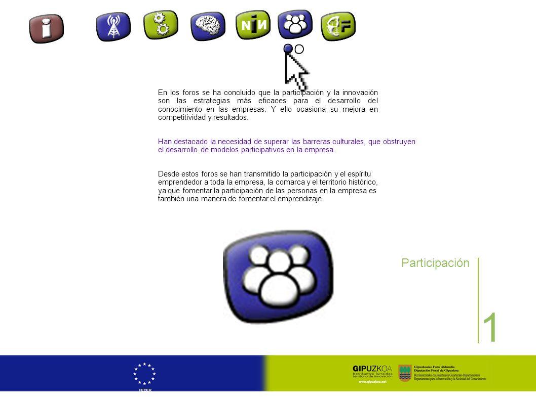 1 FEDER Participación Desde estos foros se han transmitido la participación y el espíritu emprendedor a toda la empresa, la comarca y el territorio hi