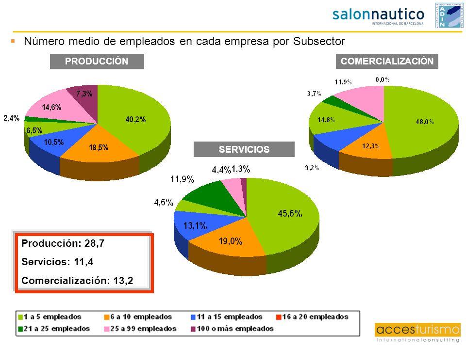 COMERCIALIZACIÓN Producción: 28,7 Servicios: 11,4 Comercialización: 13,2 Número medio de empleados en cada empresa por Subsector PRODUCCIÓN SERVICIOS