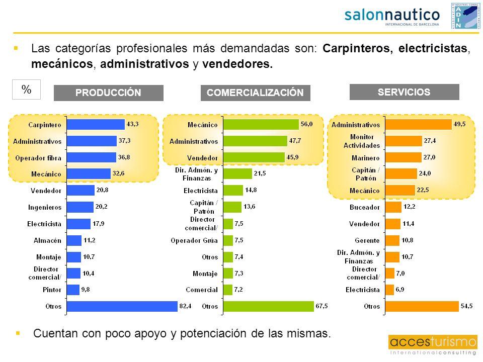 Las categorías profesionales más demandadas son: Carpinteros, electricistas, mecánicos, administrativos y vendedores. SERVICIOS PRODUCCIÓNCOMERCIALIZA