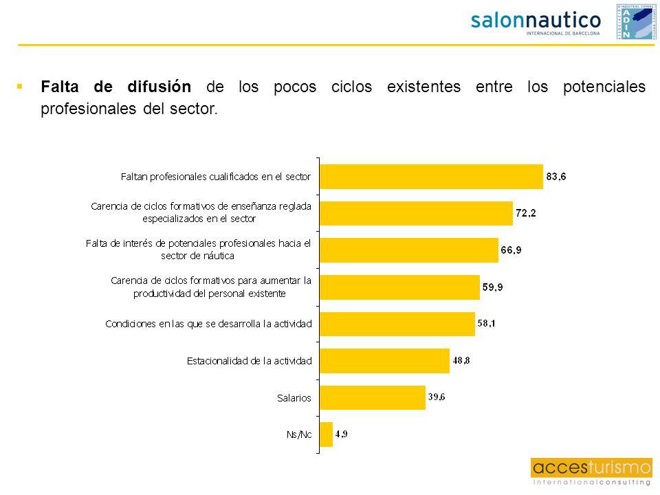 Falta de difusión de los pocos ciclos existentes entre los potenciales profesionales del sector.