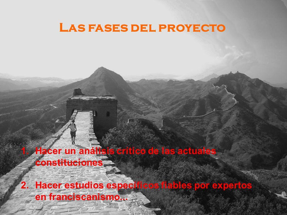 Las fases del proyecto 1.Hacer un análisis crítico de las actuales constituciones 2.Hacer estudios específicos fiables por expertos en franciscanismo...