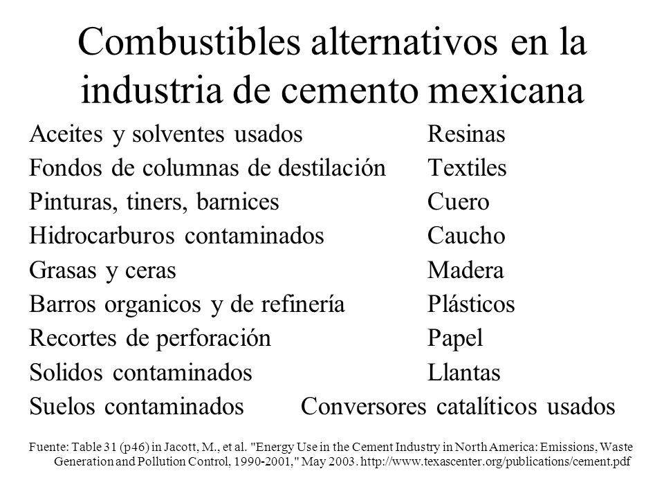 Combustibles alternativos en la industria de cemento mexicana Aceites y solventes usadosResinas Fondos de columnas de destilación Textiles Pinturas, t