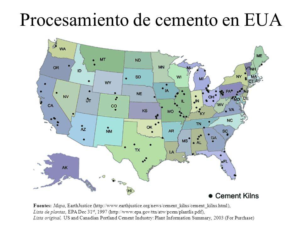 Procesamiento de cemento en EUA Fuentes: Mapa, EarthJustice (http://www.earthjustice.org/news/cement_kilns/cement_kilns.html), Lista de plantas, EPA D