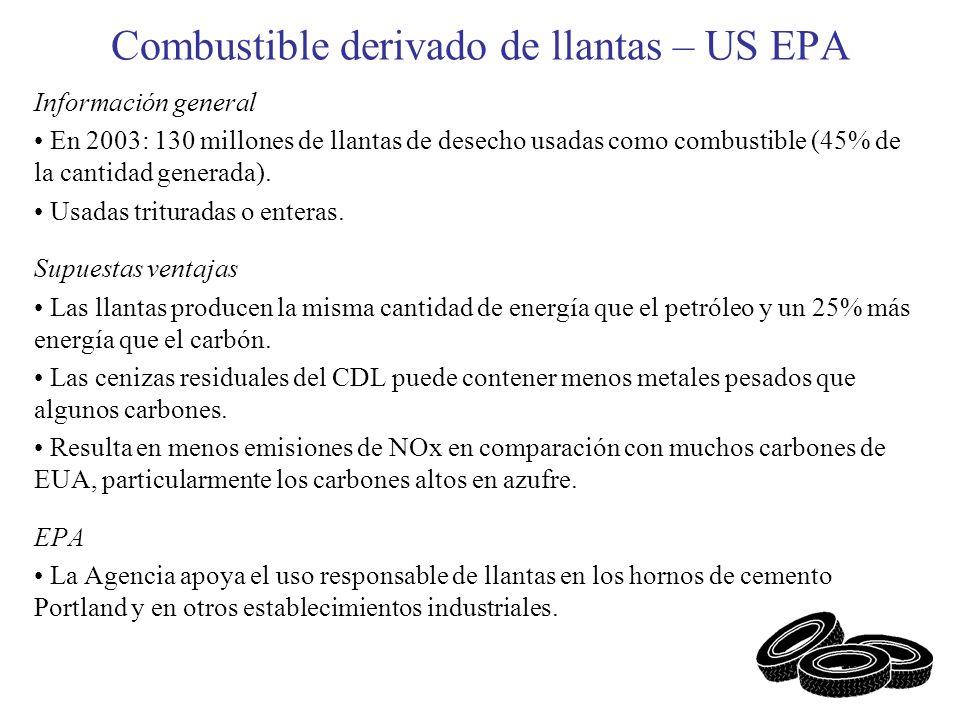 Combustible derivado de llantas – US EPA Información general En 2003: 130 millones de llantas de desecho usadas como combustible (45% de la cantidad g