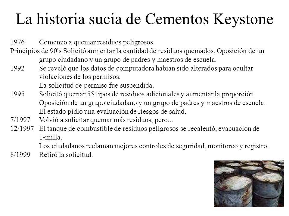 La historia sucia de Cementos Keystone 1976Comenzo a quemar residuos peligrosos. Principios de 90's Solicitó aumentar la cantidad de residuos quemados
