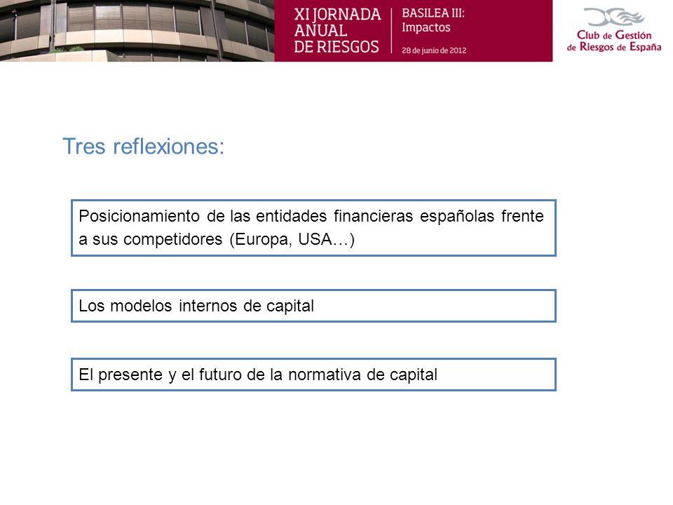 Posicionamiento de las entidades financieras españolas frente a sus competidores (Europa, USA…) Tres reflexiones: Los modelos internos de capital El p