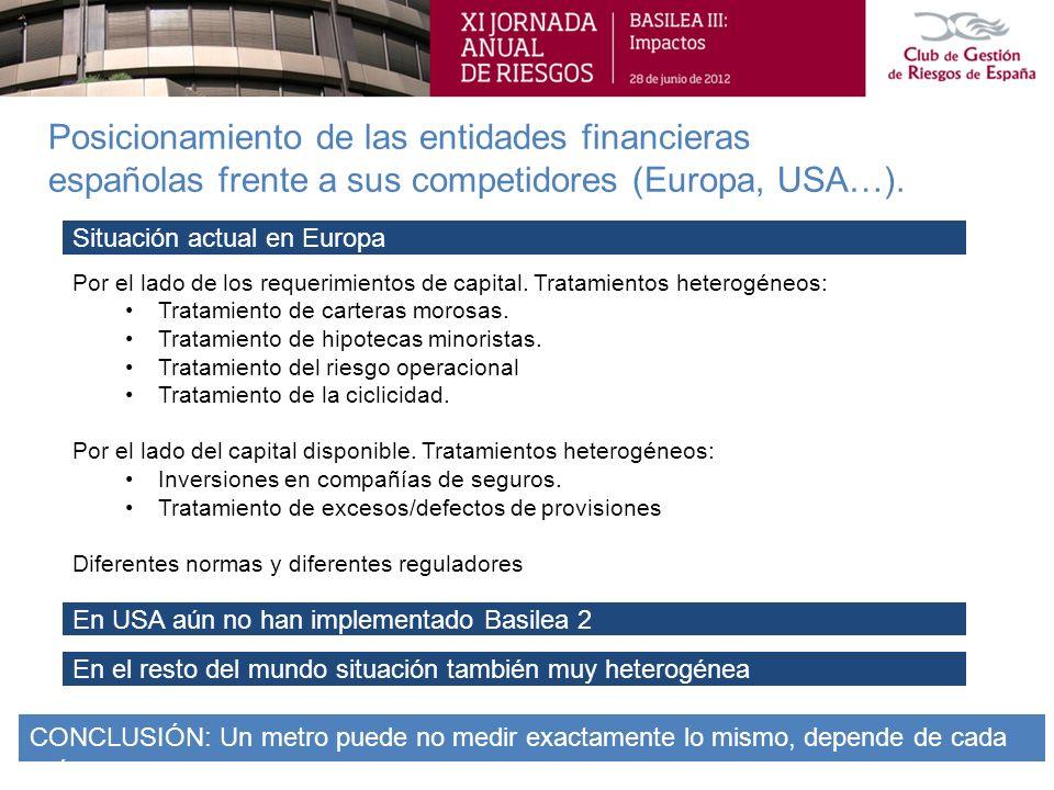 Posicionamiento de las entidades financieras españolas frente a sus competidores (Europa, USA…). Por el lado de los requerimientos de capital. Tratami