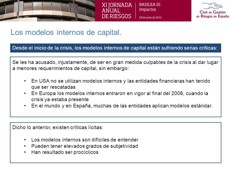 Los modelos internos de capital. Dicho lo anterior, existen críticas lícitas: Los modelos internos son difíciles de entender Pueden tener elevados gra