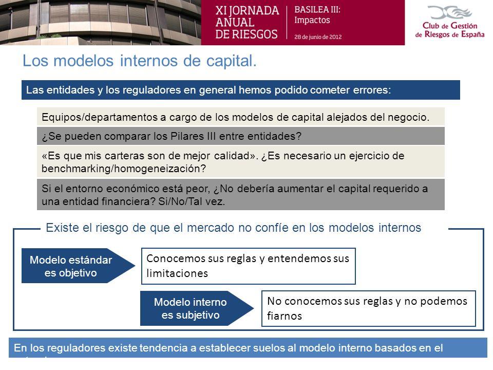 Los modelos internos de capital. En los reguladores existe tendencia a establecer suelos al modelo interno basados en el estandar. Si el entorno econó