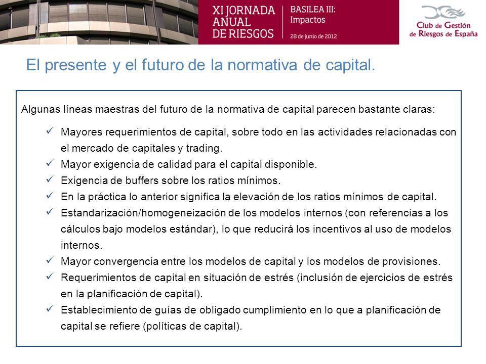 El presente y el futuro de la normativa de capital. Algunas líneas maestras del futuro de la normativa de capital parecen bastante claras: Mayores req