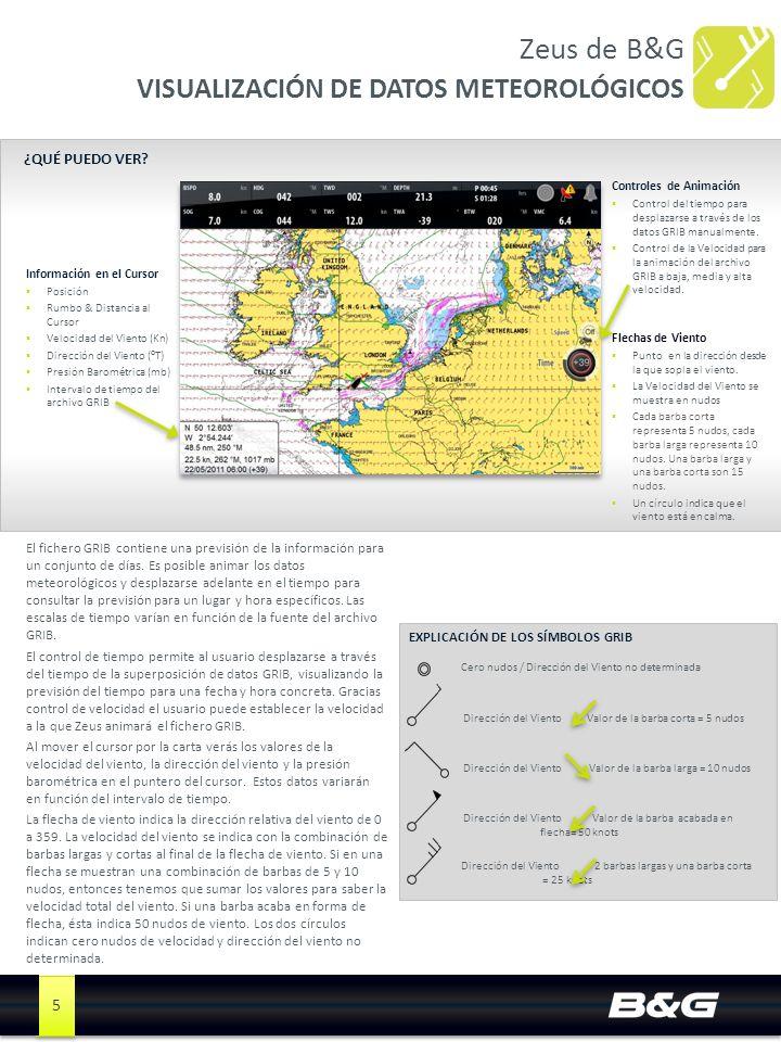 5 Zeus de B&G VISUALIZACIÓN DE DATOS METEOROLÓGICOS Información en el Cursor Posición Rumbo & Distancia al Cursor Velocidad del Viento (Kn) Dirección