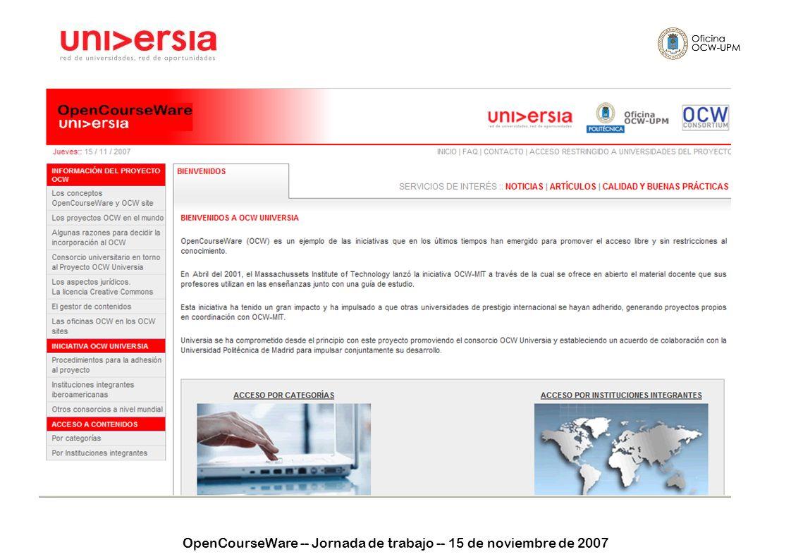 OpenCourseWare -- Jornada de trabajo -- 15 de noviembre de 2007