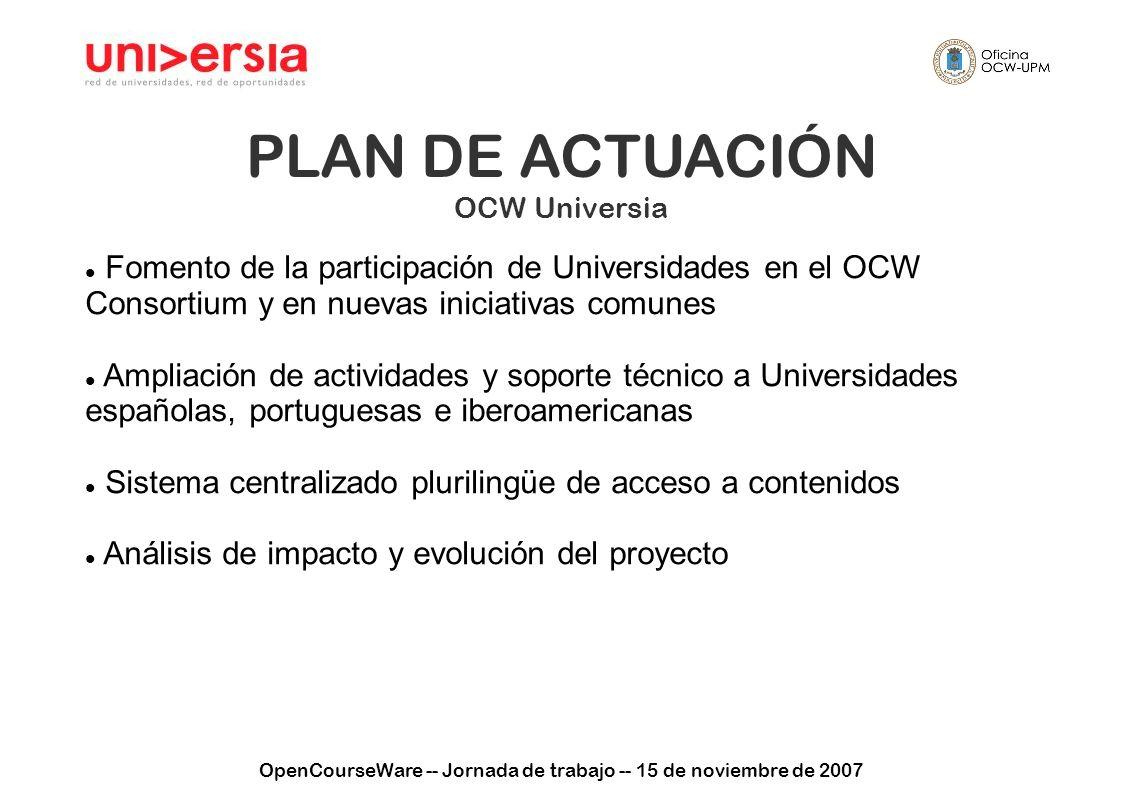 OpenCourseWare -- Jornada de trabajo -- 15 de noviembre de 2007 PLAN DE ACTUACIÓN OCW Universia Fomento de la participación de Universidades en el OCW Consortium y en nuevas iniciativas comunes Ampliación de actividades y soporte técnico a Universidades españolas, portuguesas e iberoamericanas Sistema centralizado plurilingüe de acceso a contenidos Análisis de impacto y evolución del proyecto