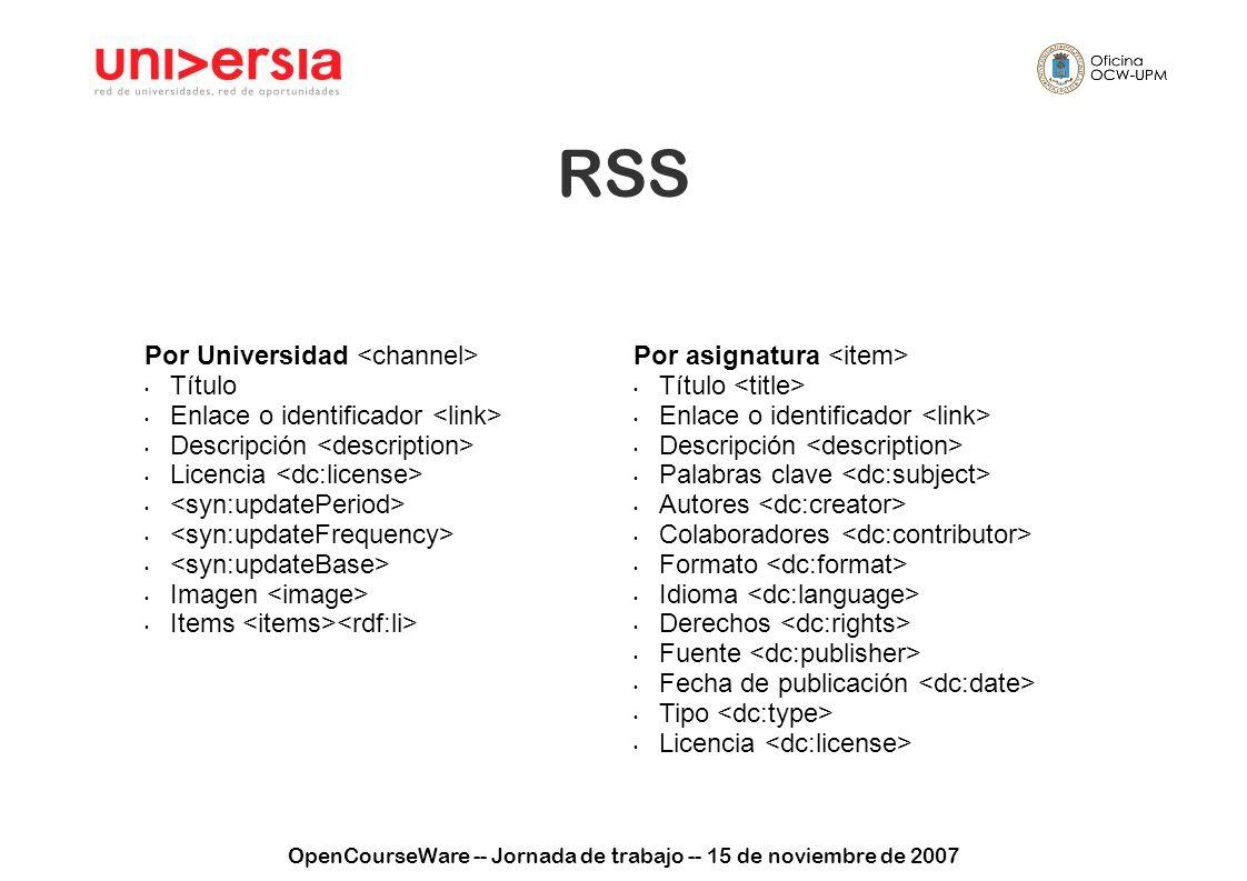 OpenCourseWare -- Jornada de trabajo -- 15 de noviembre de 2007 RSS Por Universidad Título Enlace o identificador Descripción Licencia Imagen Items Po
