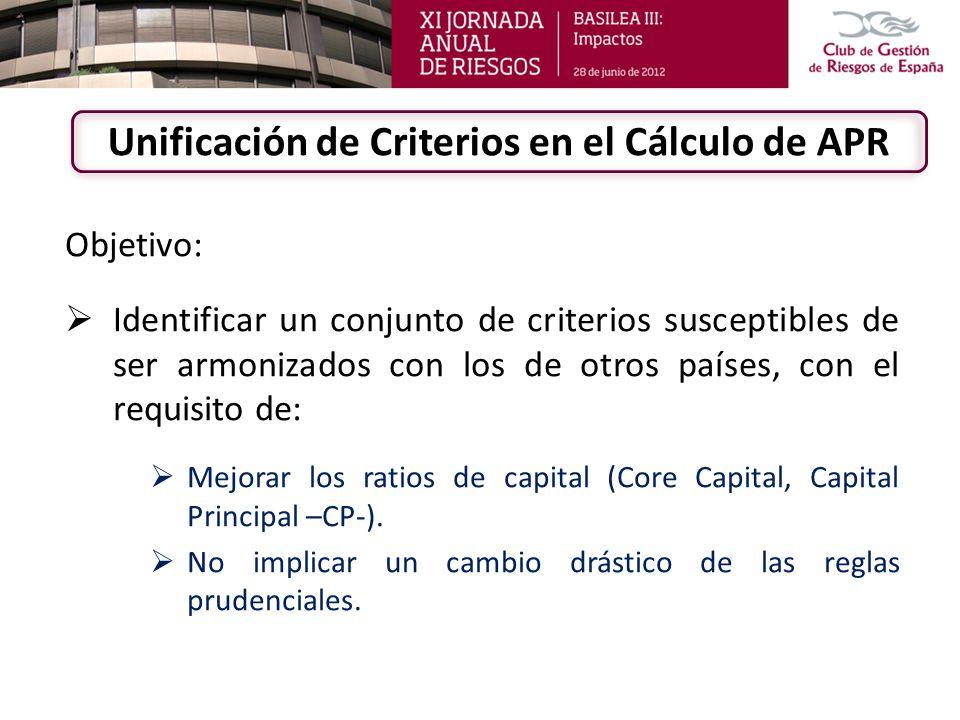Objetivo: Identificar un conjunto de criterios susceptibles de ser armonizados con los de otros países, con el requisito de: Mejorar los ratios de cap