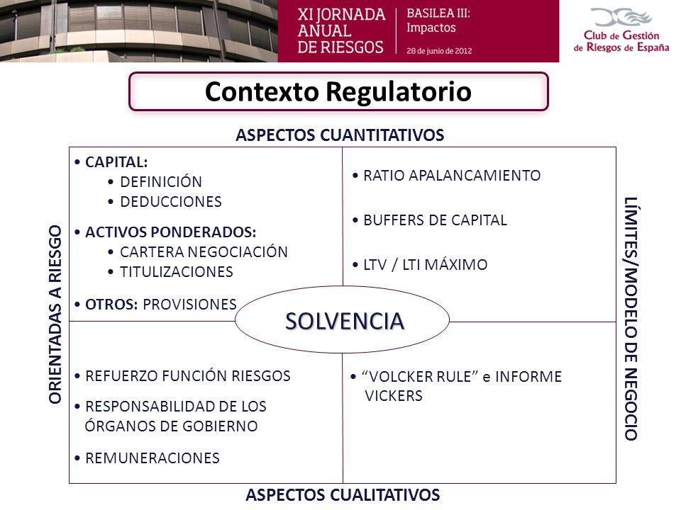 ASPECTOS CUANTITATIVOS SOLVENCIA ASPECTOS CUALITATIVOS ORIENTADAS A RIESGO LÍMITES/MODELO DE NEGOCIO CAPITAL: DEFINICIÓN DEDUCCIONES ACTIVOS PONDERADO