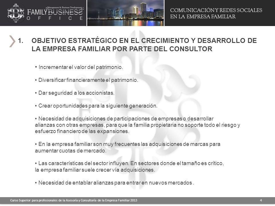 COMUNICACIÓN Y REDES SOCIALES EN LA EMPRESA FAMILIAR Curso Superior para profesionales de la Asesoría y Consultoría de la Empresa Familiar 2013 4 1.OB