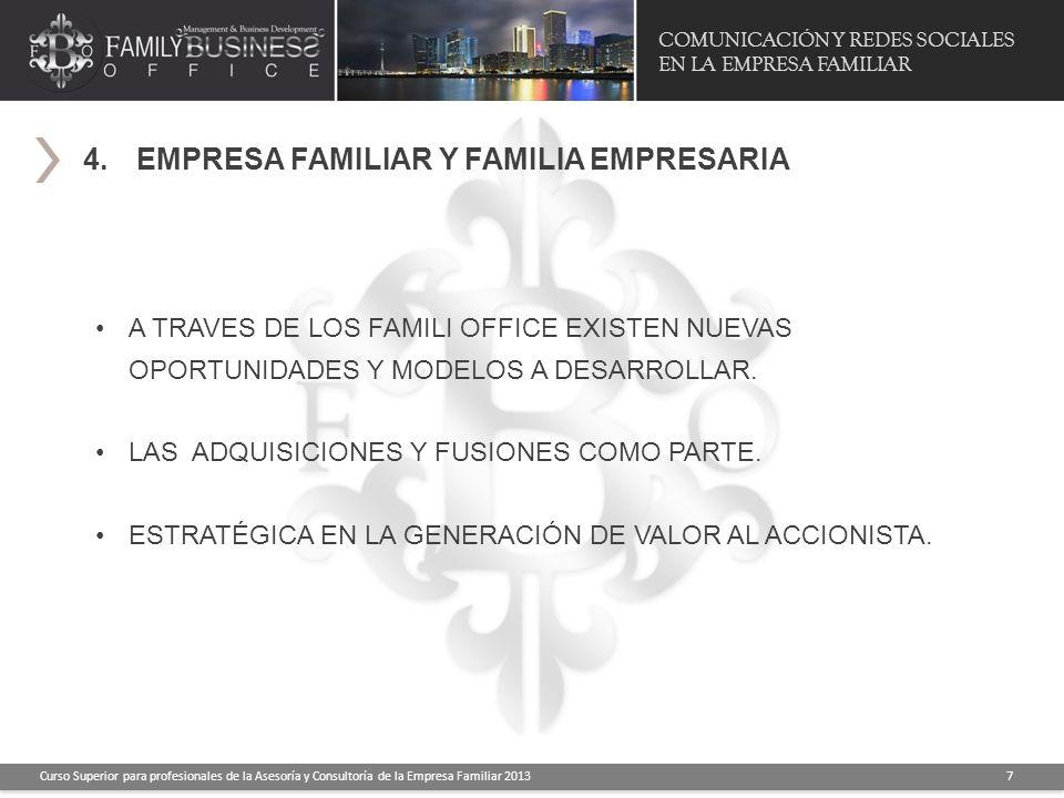 COMUNICACIÓN Y REDES SOCIALES EN LA EMPRESA FAMILIAR Curso Superior para profesionales de la Asesoría y Consultoría de la Empresa Familiar 2013 7 4.EM