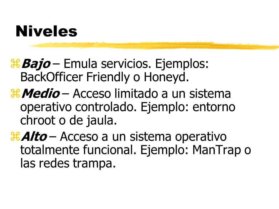 Niveles zBajo – Emula servicios. Ejemplos: BackOfficer Friendly o Honeyd. zMedio – Acceso limitado a un sistema operativo controlado. Ejemplo: entorno