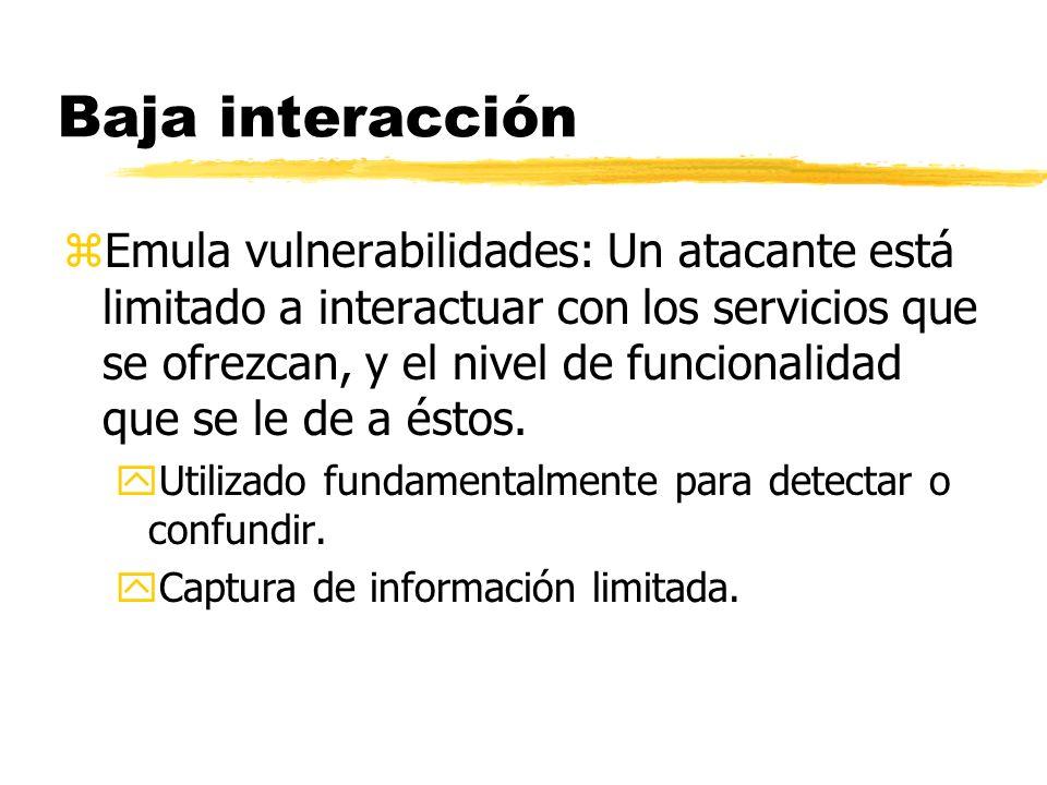 Baja interacción zEmula vulnerabilidades: Un atacante está limitado a interactuar con los servicios que se ofrezcan, y el nivel de funcionalidad que s