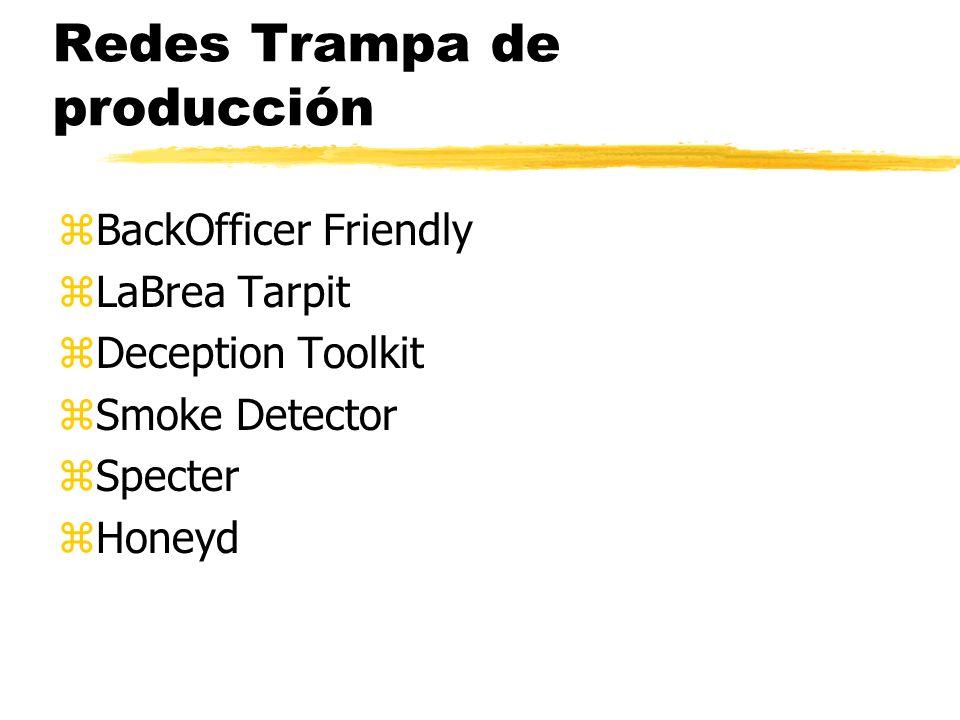 Redes Trampa de producción zBackOfficer Friendly zLaBrea Tarpit zDeception Toolkit zSmoke Detector zSpecter zHoneyd