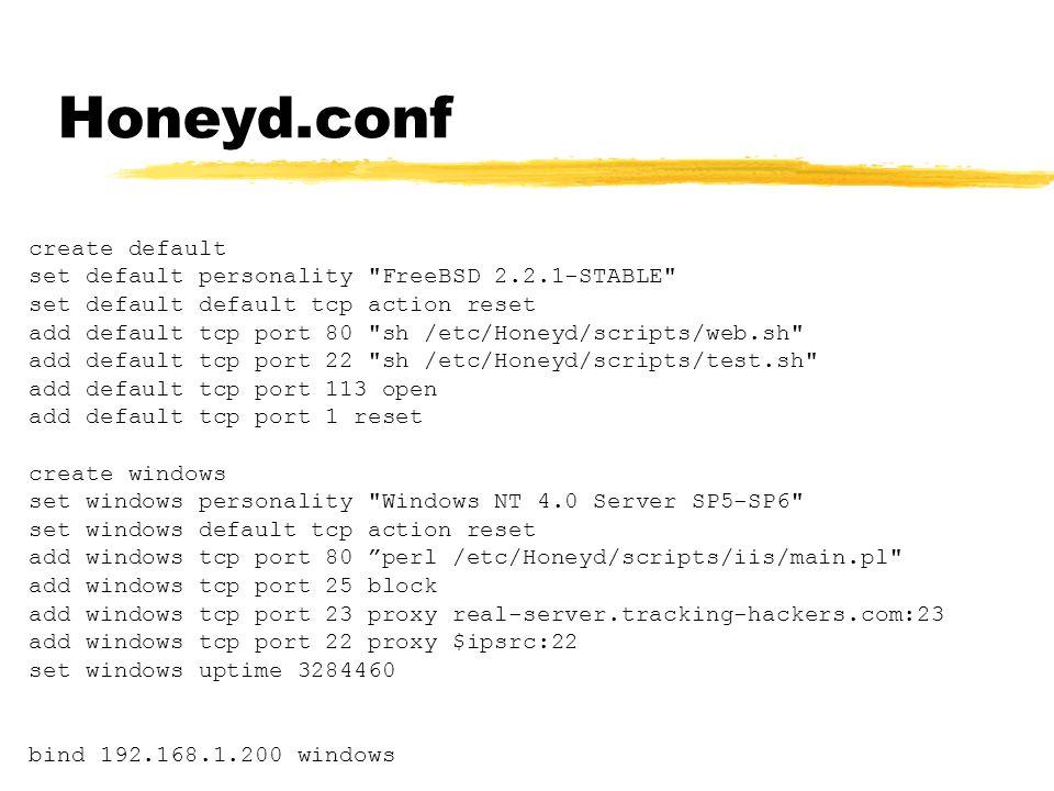 Honeyd.conf create default set default personality