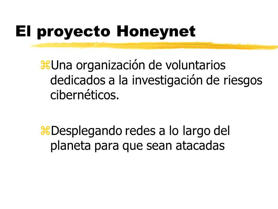 El proyecto Honeynet zUna organización de voluntarios dedicados a la investigación de riesgos cibernéticos. zDesplegando redes a lo largo del planeta