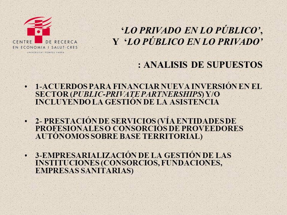 LO PRIVADO EN LO PÚBLICO, Y LO PÚBLICO EN LO PRIVADO : ANALISIS DE SUPUESTOS 1-ACUERDOS PARA FINANCIAR NUEVA INVERSIÓN EN EL SECTOR (PUBLIC-PRIVATE PARTNERSHIPS) Y/O INCLUYENDO LA GESTIÓN DE LA ASISTENCIA 2- PRESTACIÓN DE SERVICIOS (VÍA ENTIDADES DE PROFESIONALES O CONSORCIOS DE PROVEEDORES AUTÓNOMOS SOBRE BASE TERRITORIAL) 3-EMPRESARIALIZACIÓN DE LA GESTIÓN DE LAS INSTITUCIONES (CONSORCIOS, FUNDACIONES, EMPRESAS SANITARIAS)