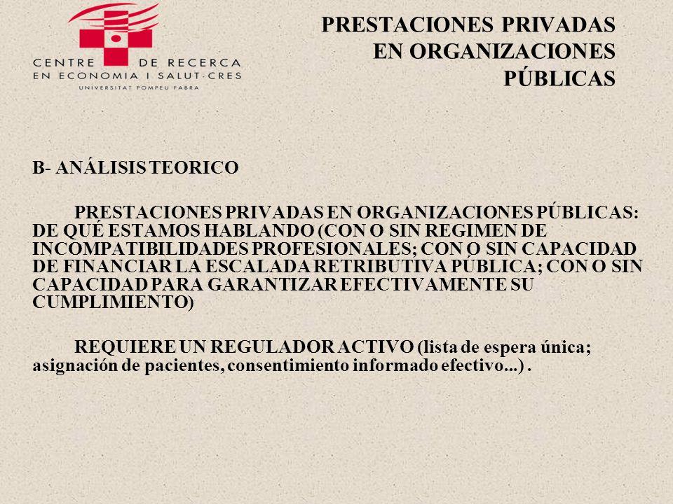 PRESTACIONES PRIVADAS EN ORGANIZACIONES PÚBLICAS B- ANÁLISIS TEORICO PRESTACIONES PRIVADAS EN ORGANIZACIONES PÚBLICAS: DE QUÉ ESTAMOS HABLANDO (CON O SIN REGIMEN DE INCOMPATIBILIDADES PROFESIONALES; CON O SIN CAPACIDAD DE FINANCIAR LA ESCALADA RETRIBUTIVA PÚBLICA; CON O SIN CAPACIDAD PARA GARANTIZAR EFECTIVAMENTE SU CUMPLIMIENTO) REQUIERE UN REGULADOR ACTIVO (lista de espera única; asignación de pacientes, consentimiento informado efectivo...).