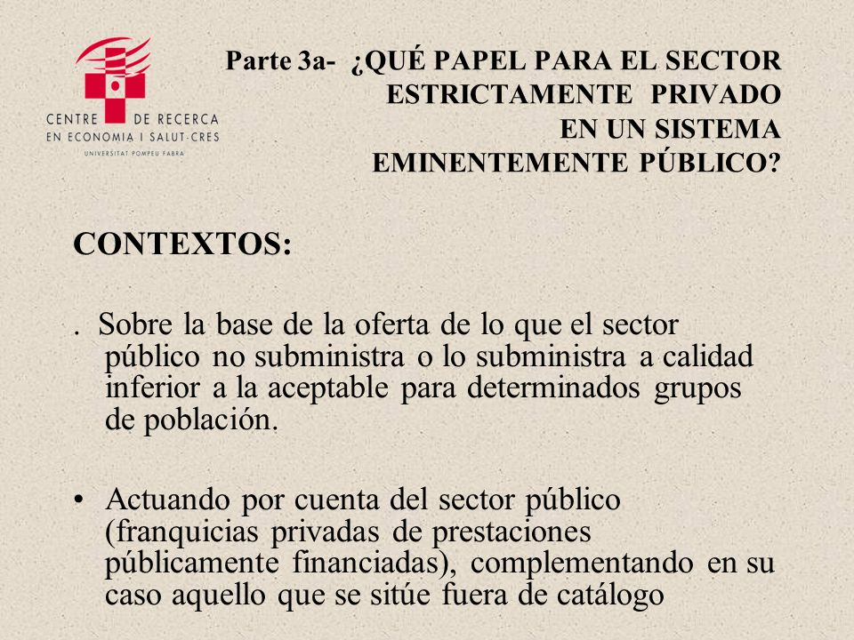 Parte 3a- ¿QUÉ PAPEL PARA EL SECTOR ESTRICTAMENTE PRIVADO EN UN SISTEMA EMINENTEMENTE PÚBLICO.