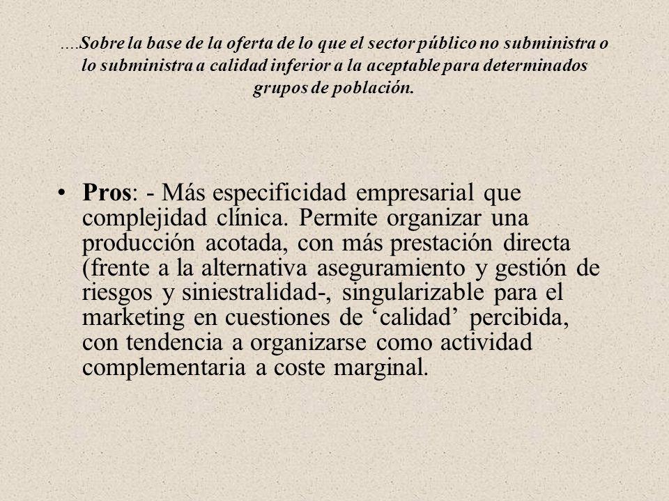 ....Sobre la base de la oferta de lo que el sector público no subministra o lo subministra a calidad inferior a la aceptable para determinados grupos de población.