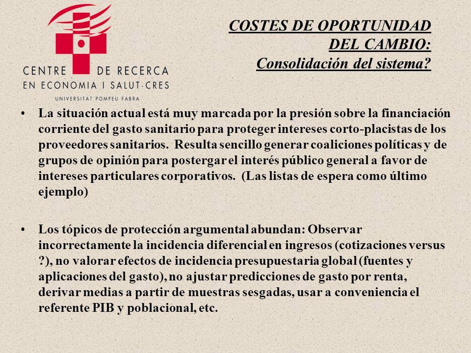 COSTES DE OPORTUNIDAD DEL CAMBIO: Consolidación del sistema.