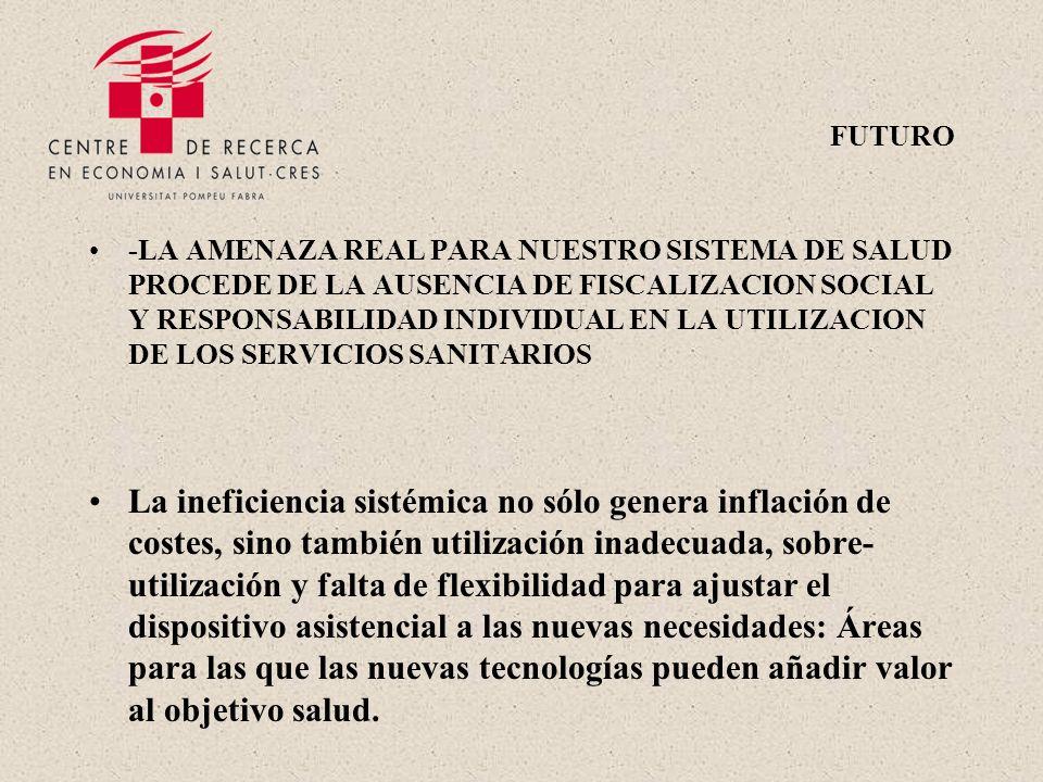 FUTURO -LA AMENAZA REAL PARA NUESTRO SISTEMA DE SALUD PROCEDE DE LA AUSENCIA DE FISCALIZACION SOCIAL Y RESPONSABILIDAD INDIVIDUAL EN LA UTILIZACION DE LOS SERVICIOS SANITARIOS La ineficiencia sistémica no sólo genera inflación de costes, sino también utilización inadecuada, sobre- utilización y falta de flexibilidad para ajustar el dispositivo asistencial a las nuevas necesidades: Áreas para las que las nuevas tecnologías pueden añadir valor al objetivo salud.