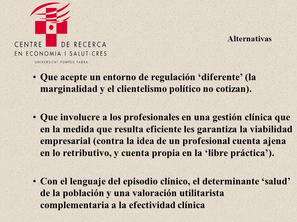 Alternativas Que acepte un entorno de regulación diferente (la marginalidad y el clientelismo político no cotizan).