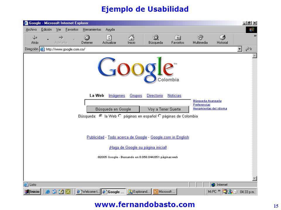 www.fernandobasto.com 15 Ejemplo de Usabilidad