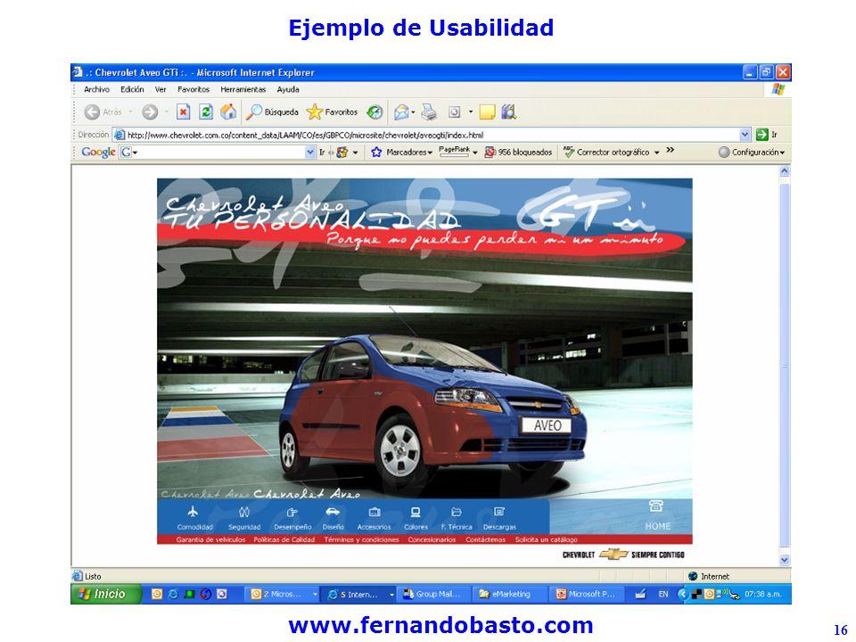 www.fernandobasto.com 16 Ejemplo de Usabilidad