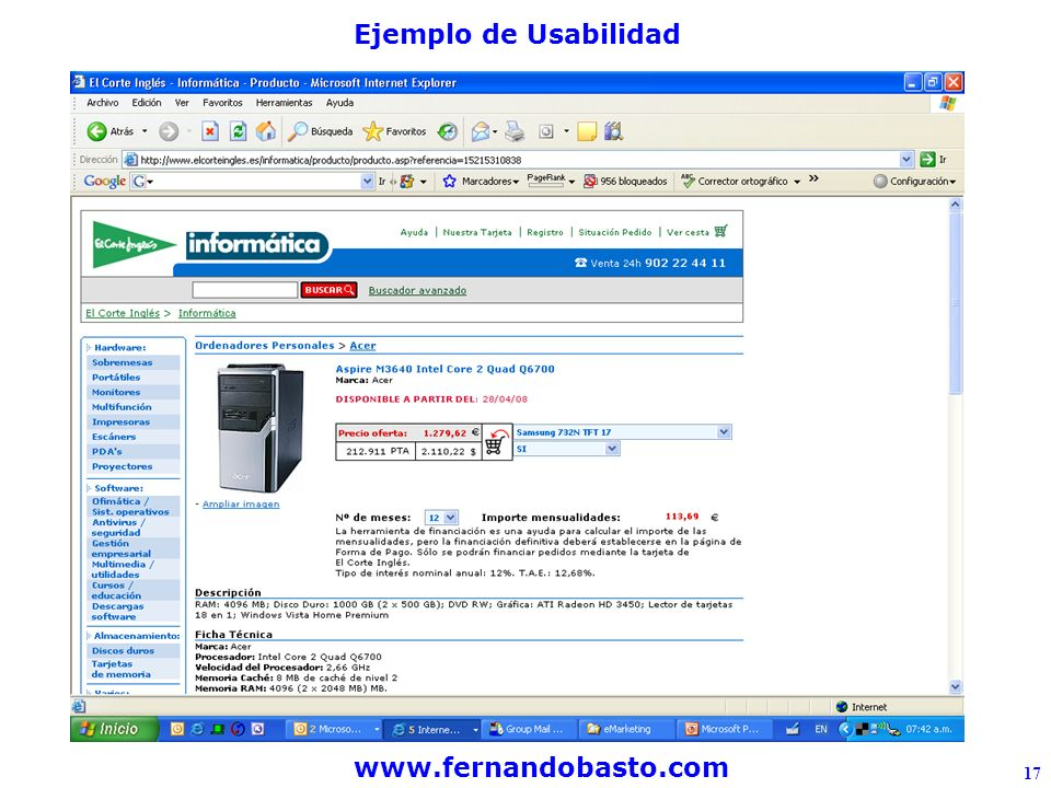 www.fernandobasto.com 17 Ejemplo de Usabilidad