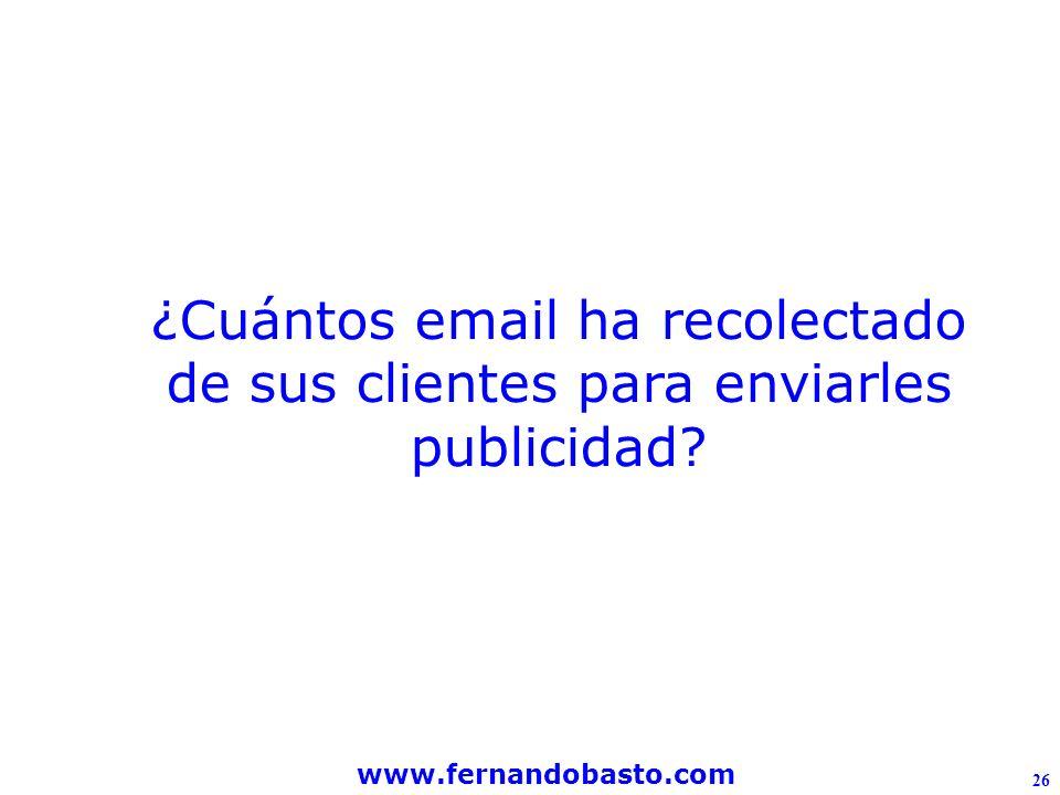 www.fernandobasto.com 26 ¿Cuántos email ha recolectado de sus clientes para enviarles publicidad