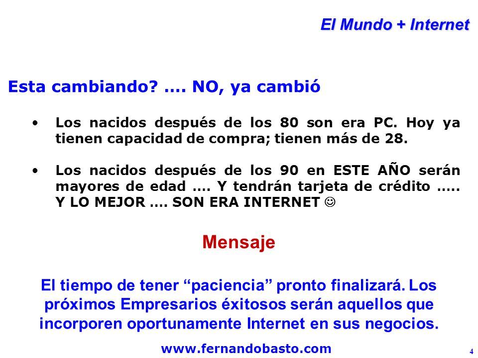 www.fernandobasto.com 4 El Mundo + Internet Esta cambiando.