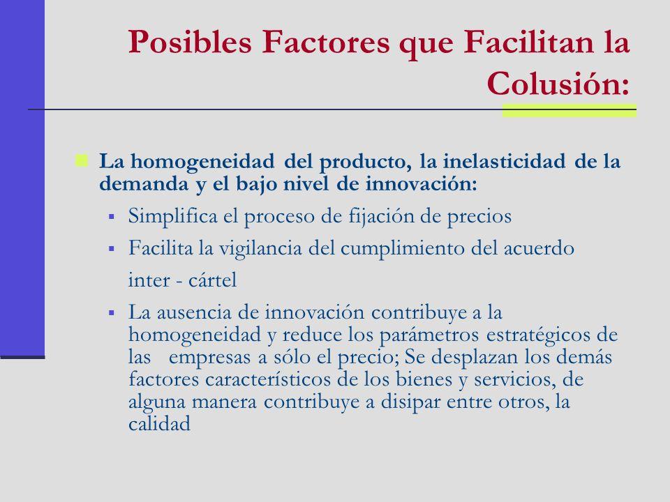 Posibles Factores que Facilitan la Colusión: La homogeneidad del producto, la inelasticidad de la demanda y el bajo nivel de innovación: Simplifica el