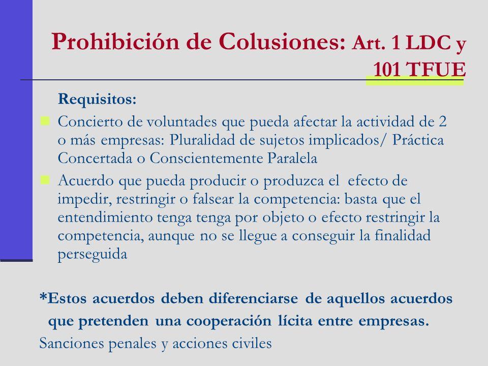 Prohibición de Colusiones: Art. 1 LDC y 101 TFUE Requisitos: Concierto de voluntades que pueda afectar la actividad de 2 o más empresas: Pluralidad de