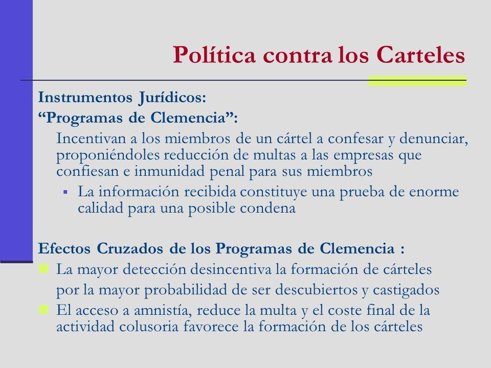 Política contra los Carteles Instrumentos Jurídicos: Programas de Clemencia: Incentivan a los miembros de un cártel a confesar y denunciar, proponiénd