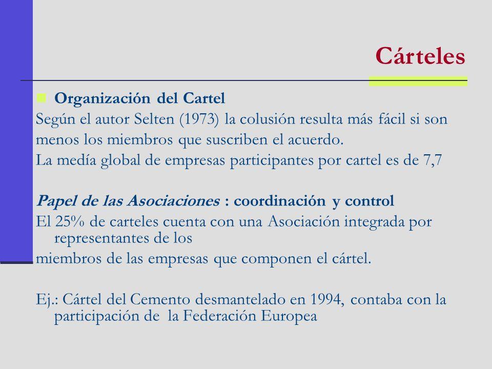 Organización del Cartel Según el autor Selten (1973) la colusión resulta más fácil si son menos los miembros que suscriben el acuerdo. La medía global