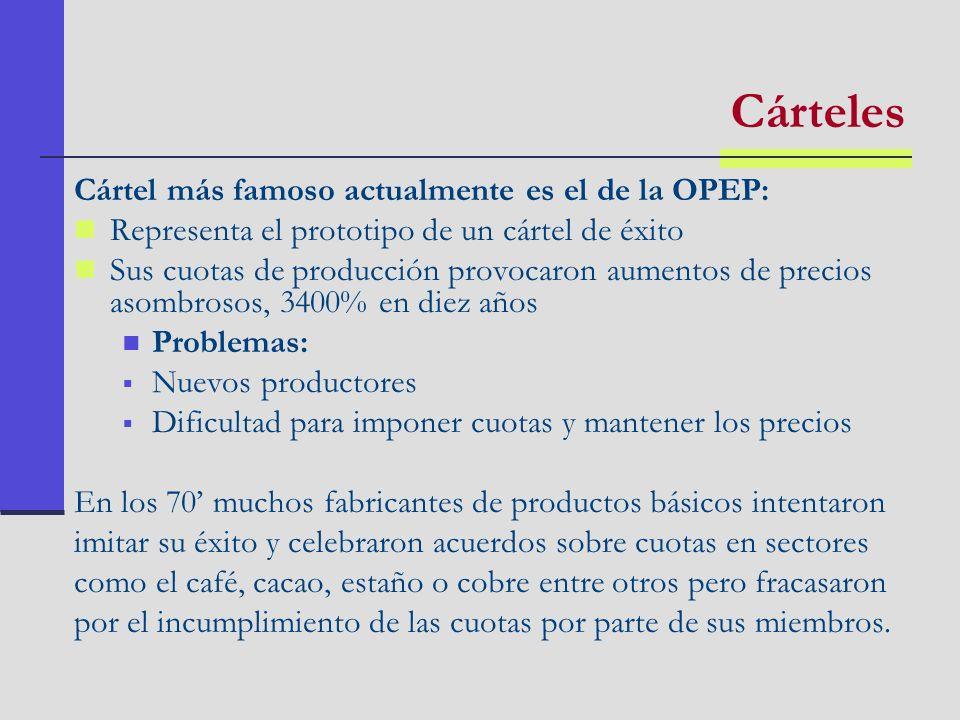 Cártel más famoso actualmente es el de la OPEP: Representa el prototipo de un cártel de éxito Sus cuotas de producción provocaron aumentos de precios