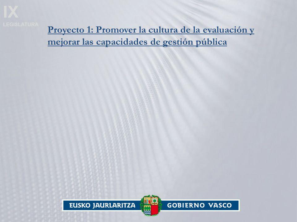 IX LEGISLATURA Proyecto 1: Promover la cultura de la evaluación y mejorar las capacidades de gestión pública