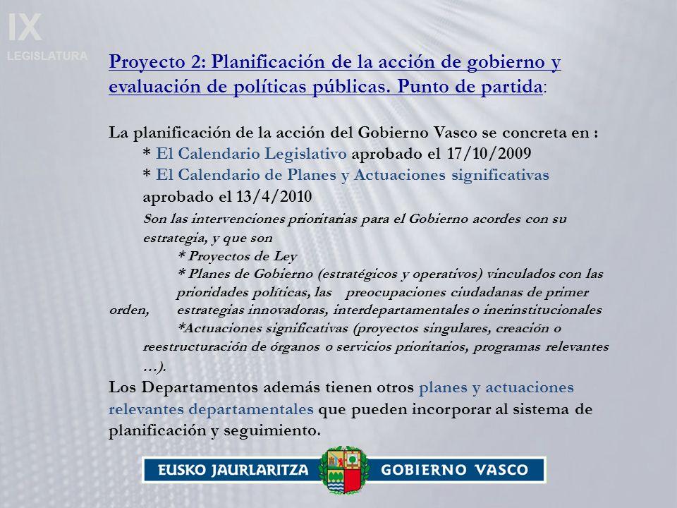 IX LEGISLATURA Proyecto 2: Planificación de la acción de gobierno y evaluación de políticas públicas.