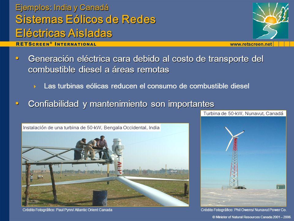 © Minister of Natural Resources Canada 2001 – 2006. Ejemplos: India y Canadá Sistemas Eólicos de Redes Eléctricas Aisladas Generación eléctrica cara d
