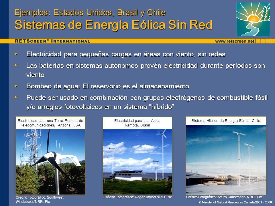 © Minister of Natural Resources Canada 2001 – 2006. Ejemplos: Estados Unidos, Brasil y Chile Sistemas de Energía Eólica Sin Red Electricidad para pequ