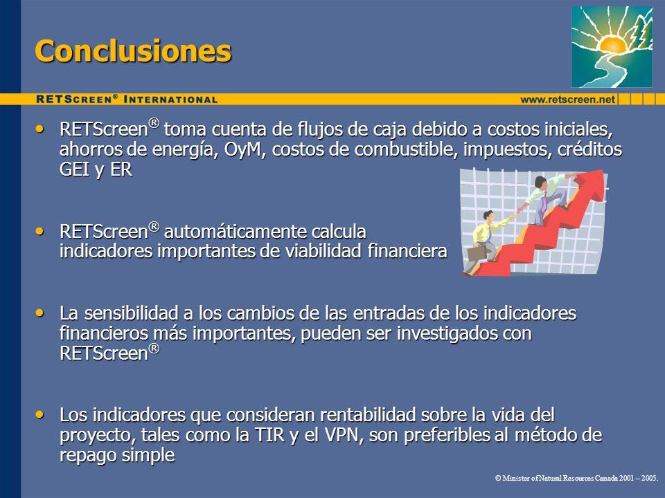 Conclusiones RETScreen ® toma cuenta de flujos de caja debido a costos iniciales, ahorros de energía, OyM, costos de combustible, impuestos, créditos