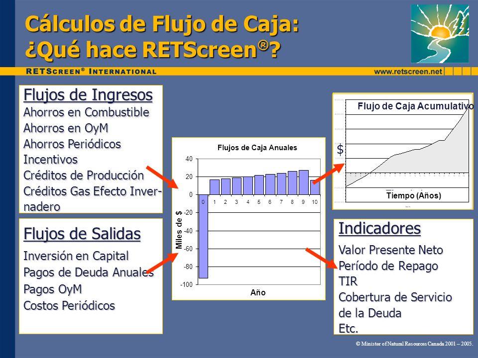 Cálculos de Flujo de Caja: ¿Qué hace RETScreen ® ? Flujos de Caja Anuales -100 -80 -60 -40 -20 0 20 40 012345678910 Año Miles de $ Flujos de Ingresos